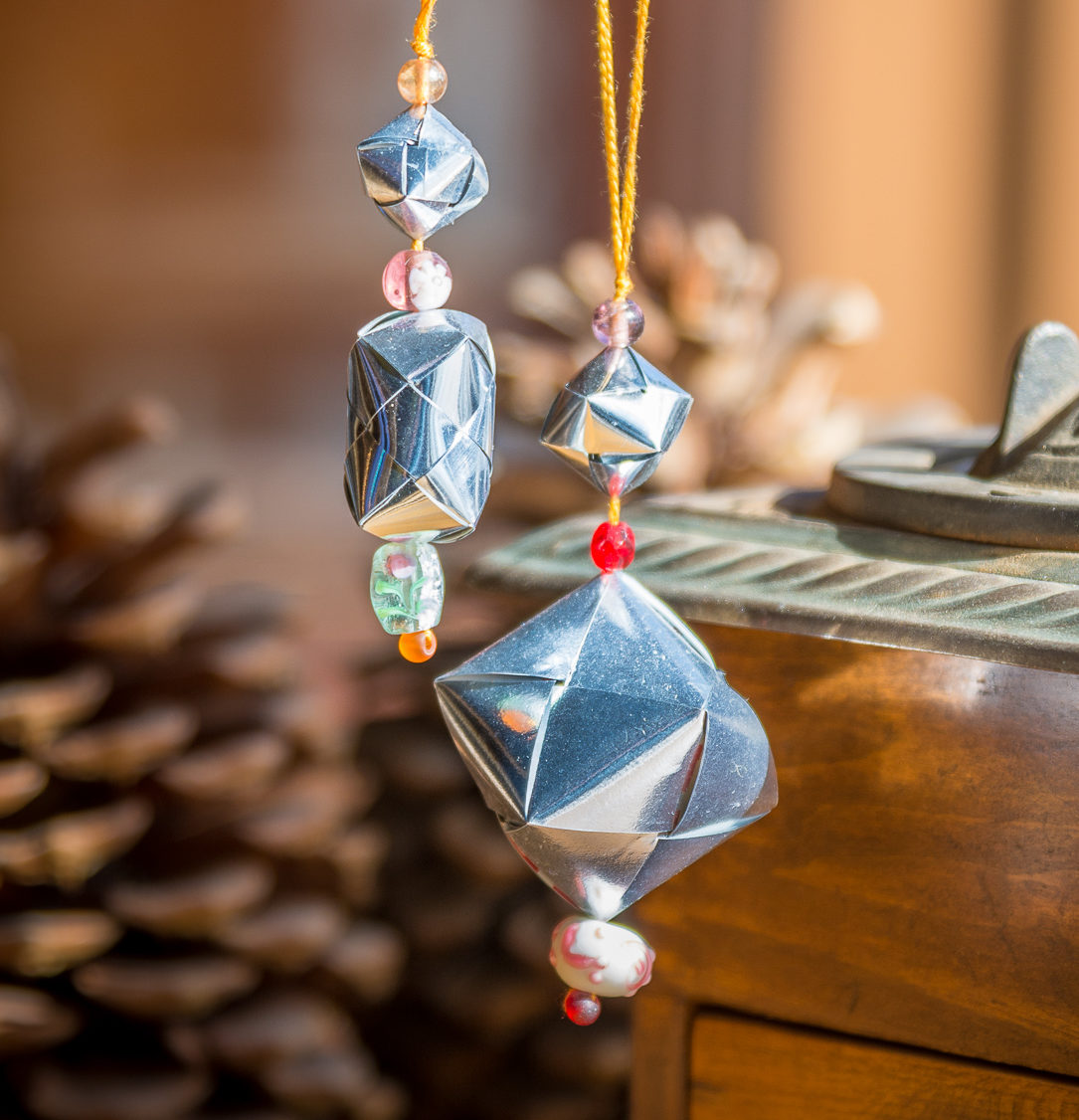 Chip Bag Woven Bead Ornaments at the Duluth Folk School